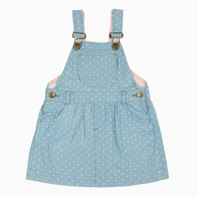 Baby Girl Dotty Denim Dungaree Dress