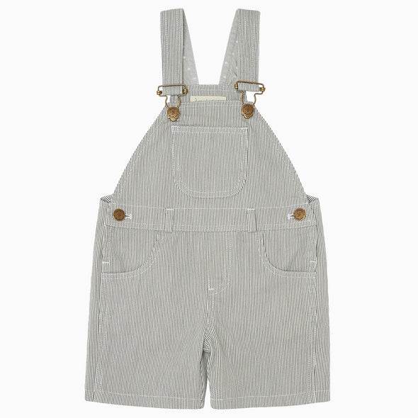 Baby Boy Pale Grey Stripe Dungaree Shorts