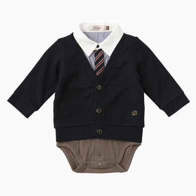 Baby Boy Navy Blue Stripe Cardigan Onesie with Tie