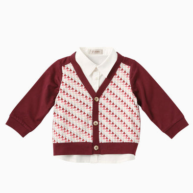 Baby Boy Wine Red Cardigan Fake Two Piece Shirt