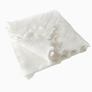 White Super Fine Merino Wool Christening Shawl Gift Box