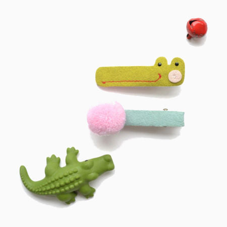 Alligator & Pink Pom-pom Hair Clips