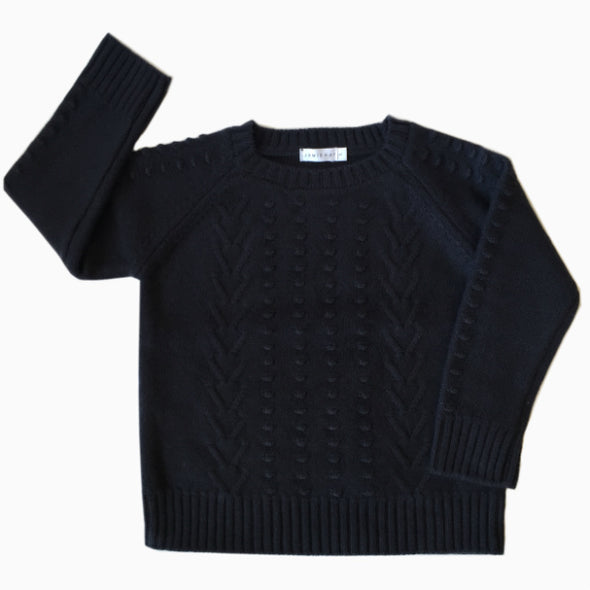 Navy Blue Merino Wool Knit Sweater