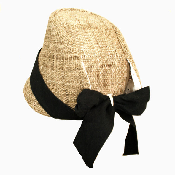 Baby Natural Black Handmade Straw Hat
