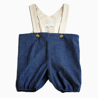 Baby Blue Denim Lined Suspender Shorts