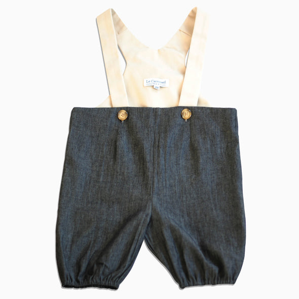 Baby Black Denim Lined Suspender Shorts