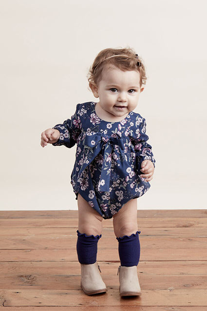 Baby Girl Juniper Floral Bow Romper - Midnight Floral