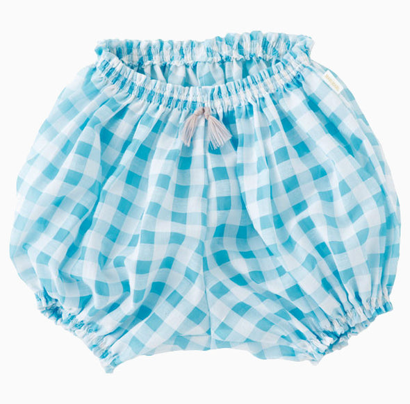 Baby Cotton Checkered Bloomers - Daisy Blue