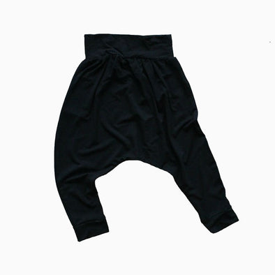 Black Drop Crotch Harem Pants