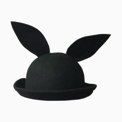 Black Bunny Wool Hat