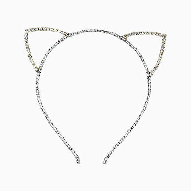 Silver Diamante Kitty Headband