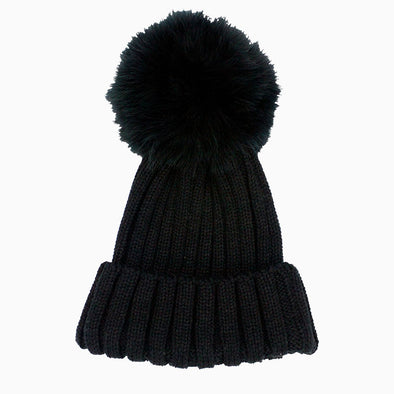 Black Karla Fur Beanie with Black Pompom