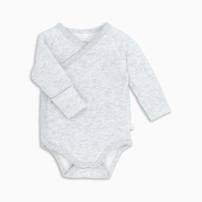 Grey Marl Organic Cotton Long Sleeve Kimono Onesie