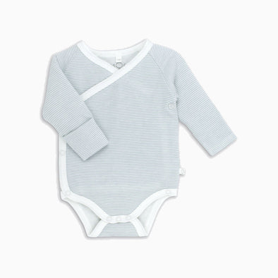 Blue Stripe Organic Cotton Long Sleeve Kimono Onesie