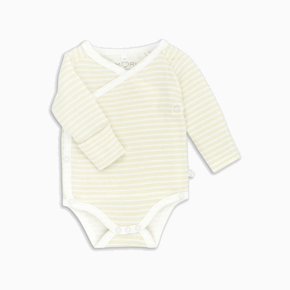 Yellow Stripe Organic Cotton Long Sleeve Kimono Onesie