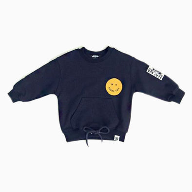 Navy Blue Kangaroo Smiley Sweatshirt
