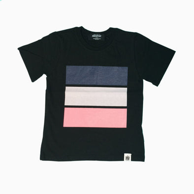 Black Cotton 'Colourful' T-Shirt