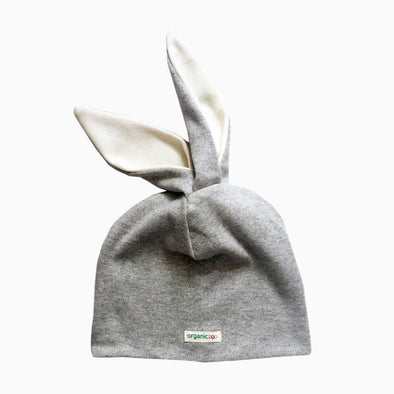 Baby Grey Organic Cotton 'Bunny' Hat