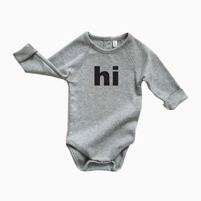Baby Grey Organic Cotton 'Hi' Onesie