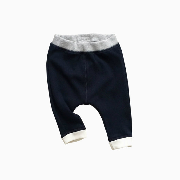 Baby Navy Blue Organic Cotton Pants With Natural Cream Cuffs