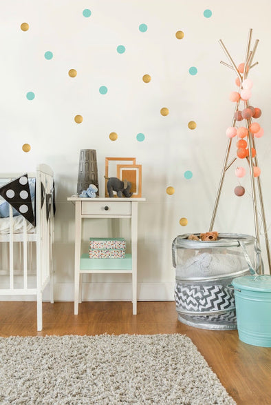 Mint Green & Gold Dot Wall Sticker