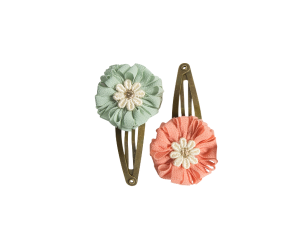 Mini Flower Rose-green Hair Clips (2 pcs.)