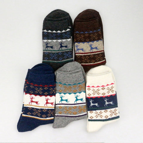 Reindeer Winter Socks - 5 Pack