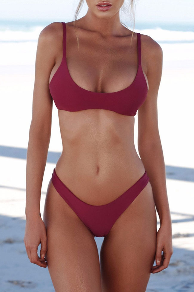 Sexy Solid High Leg Bralette Brazilian Bikini Swimsuit - Two Piece Set