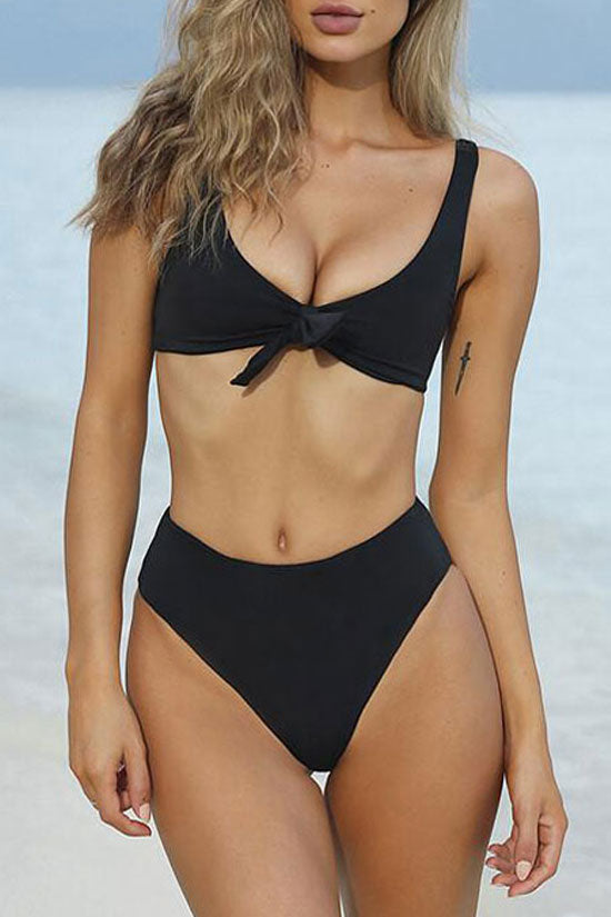 b9d128272fa Sexy Knotted High Cut High Waisted Bikini Swimsuit - Two Piece Set
