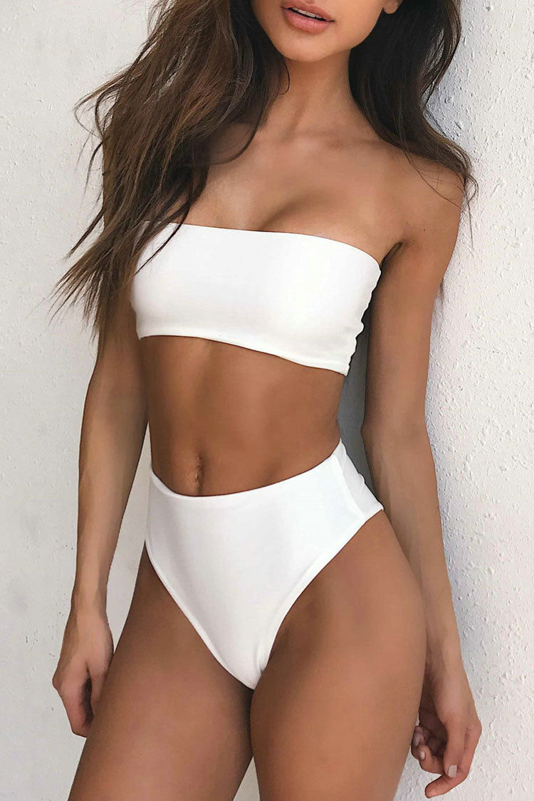 Bandeau High Cut High Waisted Bikini Swimsuit - Two Piece Set