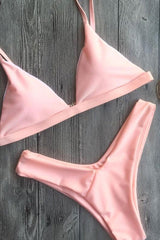 Solid Color Triangle Brazilian Bikini Swimsuit - Two Piece Set