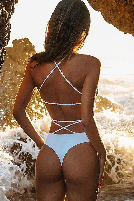 Cross Braided Strappy Monokini One Piece Swimsuit