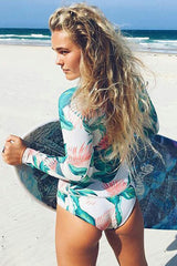 Green Surf Palm Leaf Long Sleeve Rash Guard One Piece Swimsuit