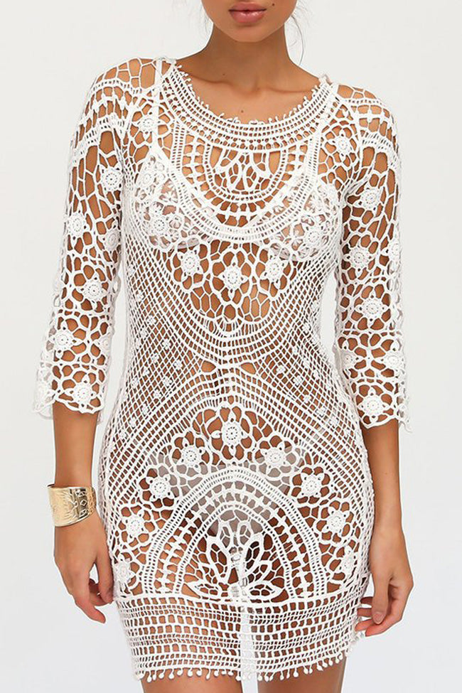 White Bohemian Crochet Tunic Coverup Bikinishe