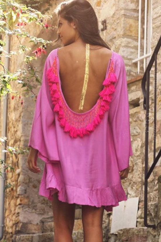 Sexy Fringe Self Tie Back Cover Up