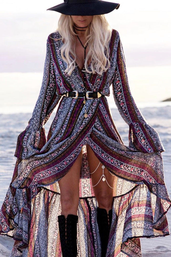 Purple Bohemian Printed Maxi Dress