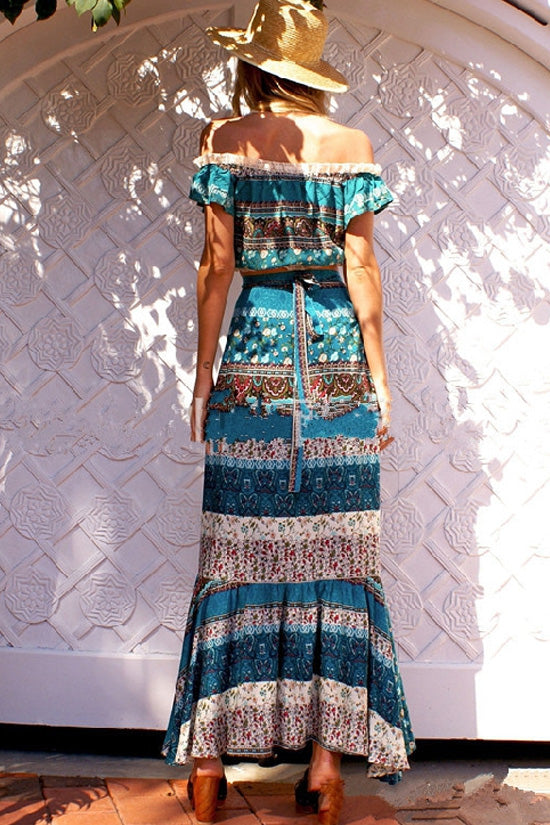 Blue Boho Off Shoulder Top with Maxi Skirt