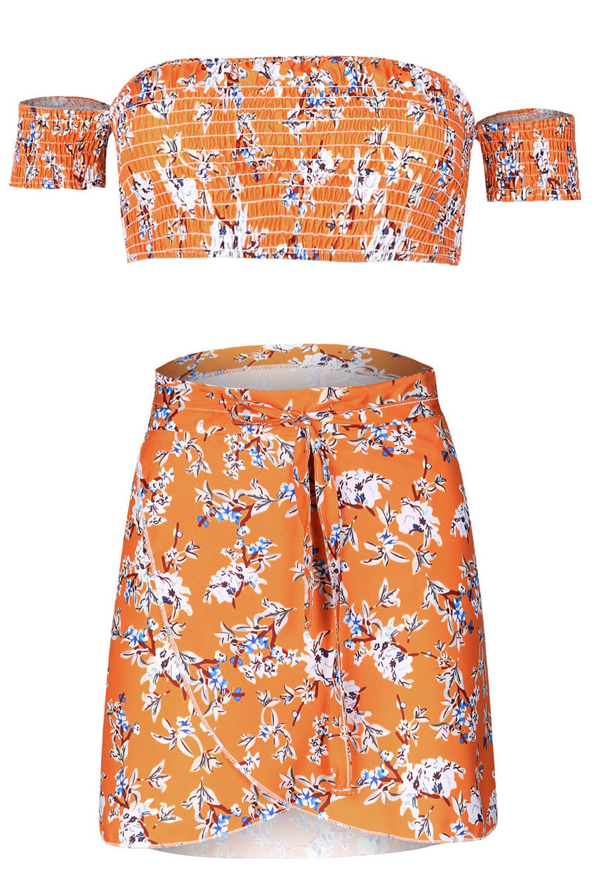 Orange Floral Crop Top with Mini Skirt