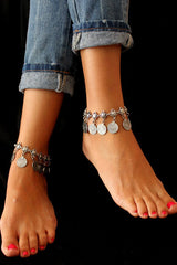 Silver Ancient Coins Anklet Chain