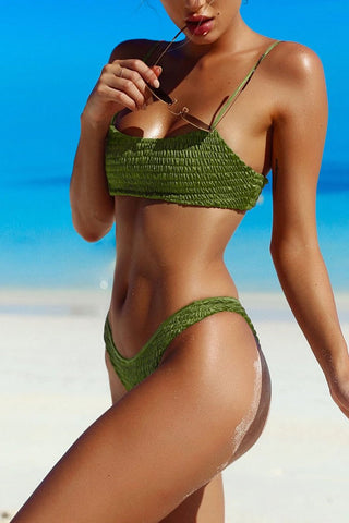 Solid Shirred Cami Bikini Swimsuit - Two Piece Set