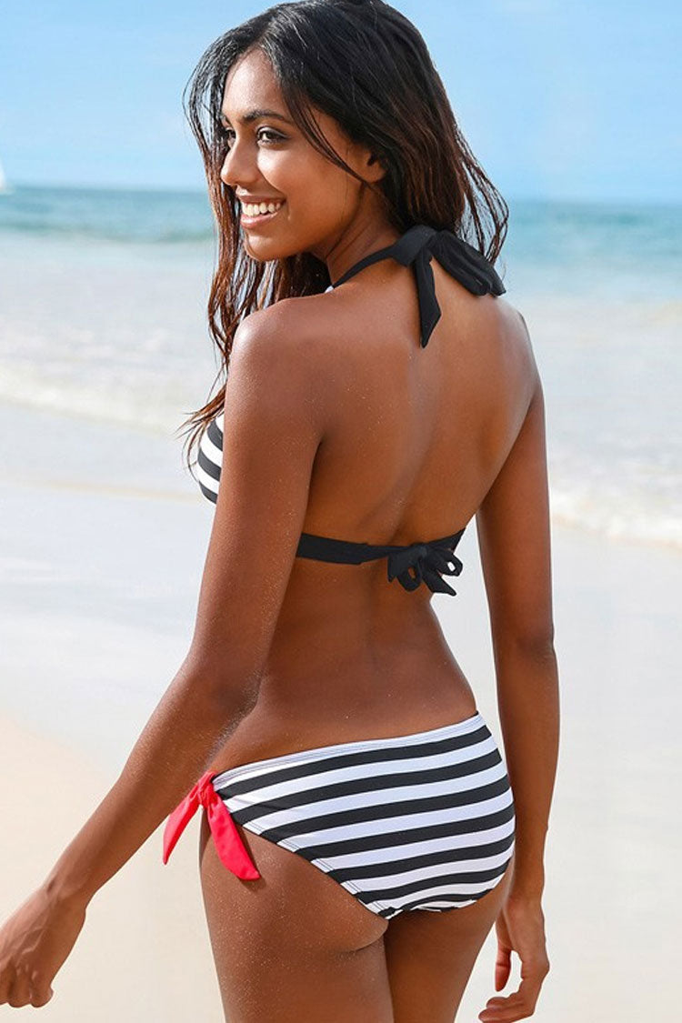 Striped Knotted Halter Nautical Bikini Swimsuit - Two Piece Set