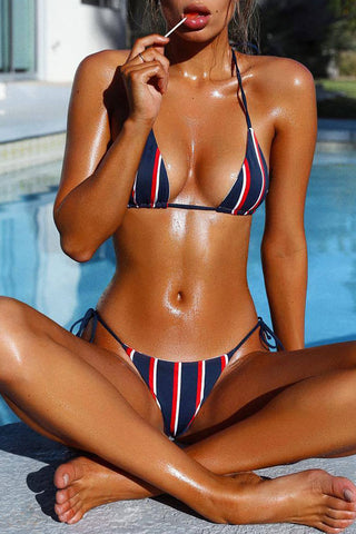 Dark Blue Striped Nautical Triangle Bikini Swimsuit - Two Piece Set
