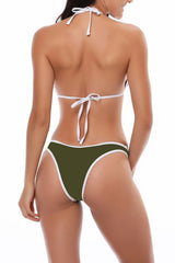 Contrast Binding Triangle Brazilian Bikini Swimsuit - Two Piece Set