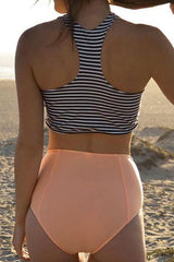 Striped Mid Waisted Racerback Crop Bikini Swimsuit - Two Piece Set