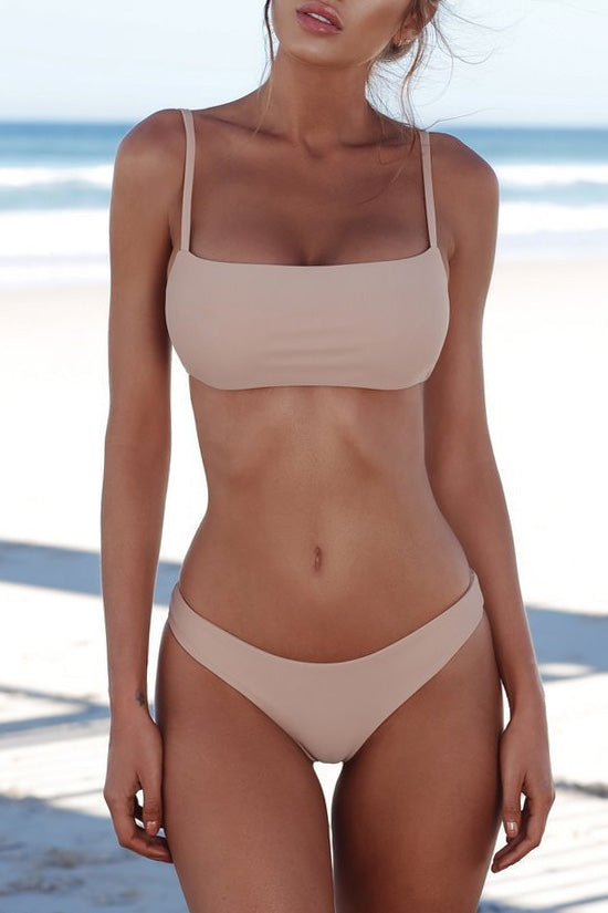 Hot Solid Bandeau Bralette Bikini Swimsuit - Two Piece Set