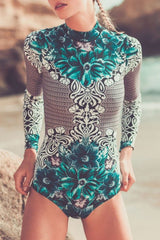 Ethnic Surf Floral Long Sleeve Rash Guard One Piece Swimsuit