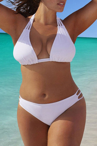 Plus Size Strappy Halter Bikini Swimsuit - Two Piece Set
