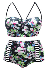 Plus Size Floral Strappy High Waisted Bikini Swimsuit - Two Piece Set
