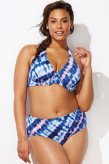 Plus Size Bowknot Halter Bikini Swimsuit - Two Piece Set