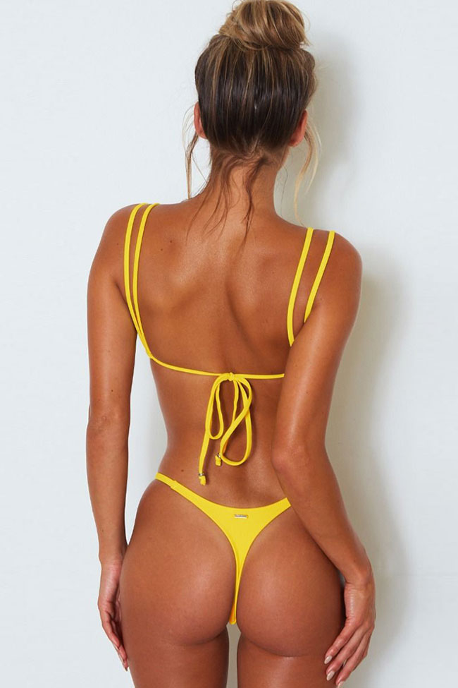 Double Strappy Thong Brazilian Bikini Swimsuit - Two Piece Set